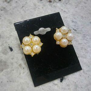 🎀 pearl diamond earrings